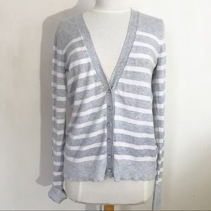 EXPRESS striped medium weight cardigan sweater M